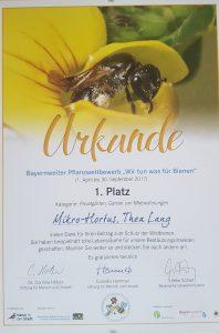 Gewinnerurkunde 1. Platz in der Kategorie Privatgärten bei Bayern Summt.